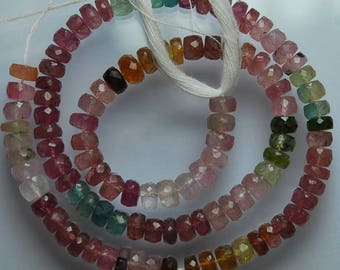 14 Inches Strand, Multi Pink Tourmaline Faceted Rondelles Large Size, 5mm