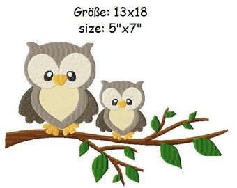 Embroidery Design Owls on a branch 5'x7' - DIGITAL DOWNLOAD PRODUCT