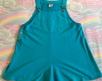 Vintage Turquoise Blue Bib Overalls Romper Shorts Athletic Works Retro 80s 90s