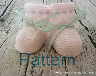 Knitting pattern,Baby booties in pink.P033
