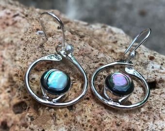 Earrings silver and mother of Pearl abalone - earrings dangle 3cm length shell round natural abalone shell abalone