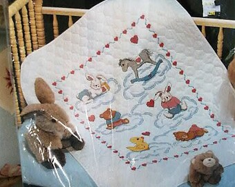 1989 Janlynn Baby Collection Comfy Critters Bunnies Bears Quilt Stamped Cross Stitch Quilt Cribcover Blanket Kit #00-363 Sealed Kit