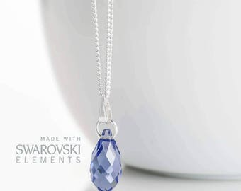 Tanzanite Necklace Sterling Silver - December Birthstone Necklace  - Tanzanite Jewelry Jewellery  - Swarovski Tanzanite Necklace  A15