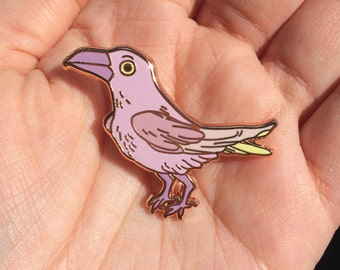 Purple/pink pastel raven/hard enamel pin/43 mm