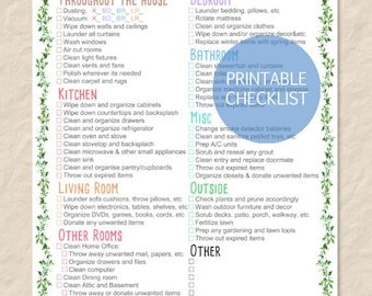 Printable Spring Cleaning Checklist, Printable House Cleaning Checklist,  Filled And Blank List   Editable