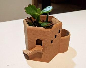 Succulent Hex Tower Pot - Fantasy Castle Planter, Succulent Planter, Building Planter, Architecture Pot, Succulent Pot