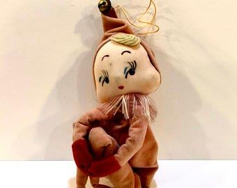 Vintage Christmas Pixie, Knee Hugger Elf, Velvet Pixie, Yarn Hair, 6 inches, Shelf Sitter, Christmas Decor, Mid Century Pixie, Japan, 1950s