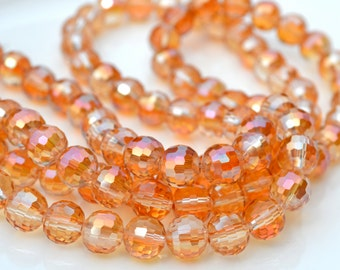 Autumn Sun 8mm Faceted Crystal Round Beads  15