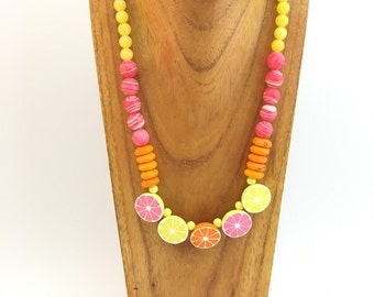 Bright colorful citrus beaded necklace
