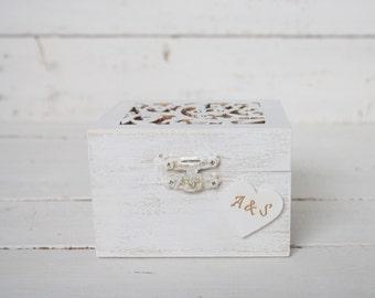 Ring Bearer Box, Wedding Ring Box, Rustic Vintage Wedding Ring Holder, Pillow Bearer Box