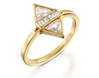 Gold Diamond Engagement Ring in 14k Yellow Gold With Triangle Diamond Shape- Art Deco Ring, Promise Ring