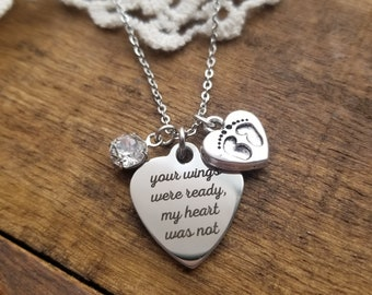 Miscarriage jewelry, miscarriage memorial jewelry, Your wings were ready my heart was not, miscarriage gift, memorial gift, infant loss gift