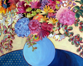 Luncheon with Billie Swofford, Large Flower Painting, Colorful Flowers, Framed Mixed Media Floral Arrangment Sofa Painting, Wall Art