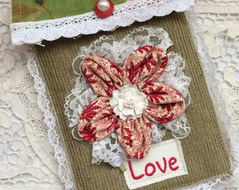 Love - Shabby Victorian Pocket Envelope Pouch Bag - Handmade by The Clever Cottage