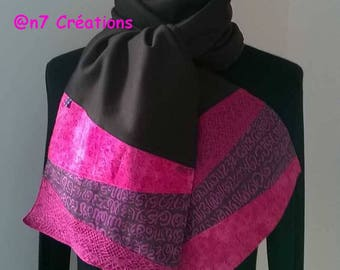 Scarf ends pink and purple brown jersey fabric.