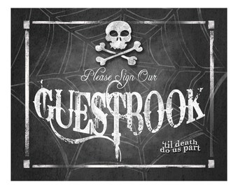 Halloween Wedding GUESTBOOK Sign Printable Digital File - 4 sizes - INSTANT DOWNLOAD - Wicked Collection