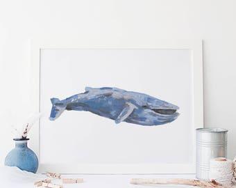 Watercolor Whale, Whale Poster, Coastal Art Print, Printable Blue Whale, Nautical Digital Prints, Blue Whale Art Print, Sea Life Wall Art