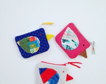 Chick Coin Purse/ Salmon pink linen