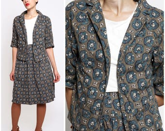 Vintage 1950s Brown & Blue Patterned Cotton Matching Jacket and Skirt 2-Piece Set | Small