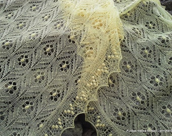 """MADE TO ORDER. Hand knitted Haapsalu shawl """" Immortal Flowers"""", traditional Estonian lace, 100% merinowool."""