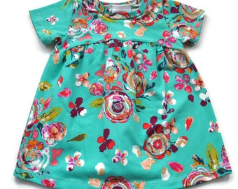 Turquoise Floral Tunic Dress - Baby Dress - Dress - Toddler Dress