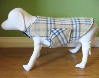 Fleece Dog Coat, Medium, Camel, Gray, Ivory, and Blue-Gray Plaid with Heather Gray Fleece Lining