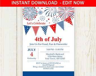 Fourth of July Invitation - EDIT NOW - 4th of july party no. 532