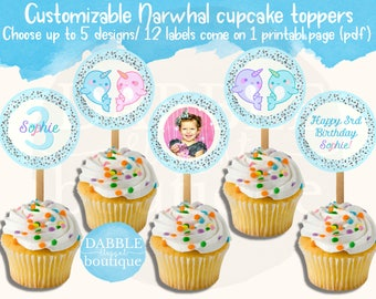 Narwhal Cupcake Toppers / Narwhal Favor Tags / Narwhal Baby Shower / Narwhal Birthday