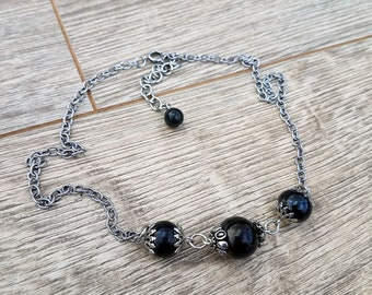 Three in the Mourning- Genuine Jet Bead Vintage Chain Necklace
