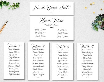 Wedding Seating Chart Template // INSTANT DOWNLOAD // Editable // Printable // Find Your Seat // Table Seating // PDF