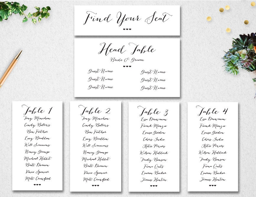 Wedding Seating Chart Template  Instant Download  Editable