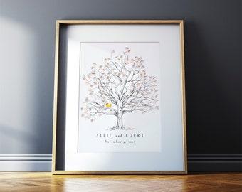 Wedding Guest Book Alternative, Fingerprint tree, Medium twisted oak, unique guest book, guest book ideas, thumbprint tree, Rustic Wedding,