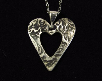 Antiqued Sterling Silver Heart Necklace/ Heart Necklace/ Sterling Silver Necklace/ Handmade Necklace