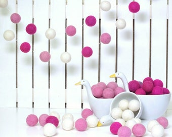 Felt Ball Garland, 30 balls for 2meters(7ft), Girl room decoration, Christmas SALE