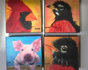 "Delightful Prints, Eager Pig, Cardinal, Juvenile Robin, Robin ""  Signed Giclee Print 6X6 Bird Avian, Yellow Square Art, Tweet Collectible Pr"