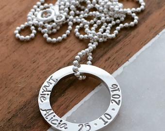 Hand stamped - small circle necklace - Sterling Silver - Personalised Jewellery -Mrs Fickle's Tiny Loop - silver circle name necklace
