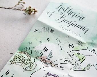 Custom Illustrated Large Map Invitation - Unique Wedding Stationery