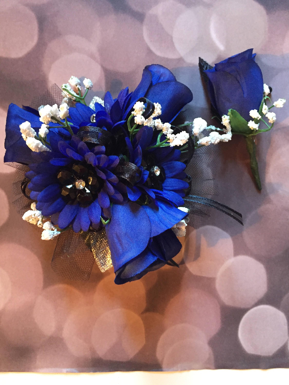 Prom blue silk wrist corsage prom corsages zoom izmirmasajfo