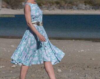 Kleid, Sommerkleid, Boho Kleid, Blau, 60 er jahre Kleid, U boot ausschnitt, Knielanges Kleid, Strandkleid, Sommerkleider, Jerseykleid, Midi