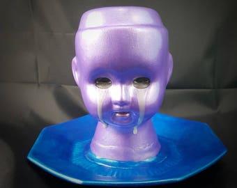 Gothic Weeping Porcelain Doll Makeup Brush Holder - OOAK - Beauty - Horror Doll, Art Doll, Oddities, Custom Doll, Creepy Doll, Gothic Doll