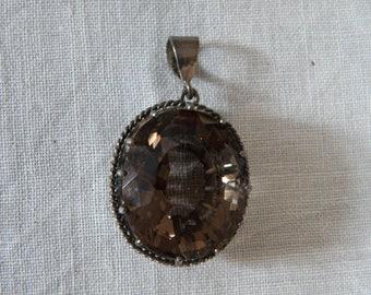 Vintage Citrine Sterling Silver Pendant - 8.5 ctw
