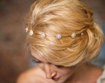 Gold Flower girls hairband Bridesmaids gold wedding headpiece floral wedding headpiece, prom headpiece-Myleen