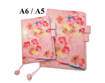 A5 / A6 Size Cover for Hobonichi Japanese Design Planner, Organizer Notebook, Peach Spring Flowers