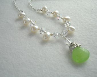 Necklace with freshwater pearls, Swarovski crystals and green chalcedony pendant, sterling silver, green and white