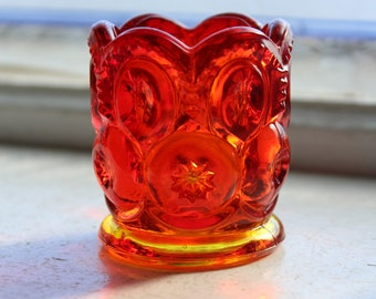 Vintage Amberina Glass Toothpick Holder Red Moon and Star Pattern