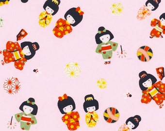 Chiyogami or yuzen paper - sweet little kimono girls, pink, red, yellow and celery green on a pale pink background, 9x12 inches