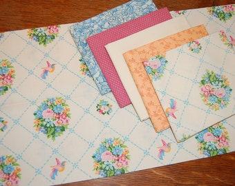 1970s Gloria Vanderbilt and Roses Sheet Bundle | 6 Fat Quarters | birds stitched lattice bedsheet fabric bundle shabby chic cottage
