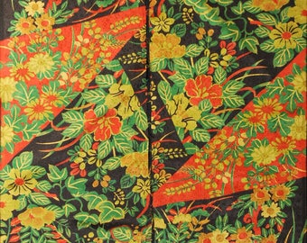 """6.8""""w. x 14.2""""l. and 7.2""""w. x 14.2""""l. Japanese vintage silk kimono fabric floral motifs in Green and black 3124H"""