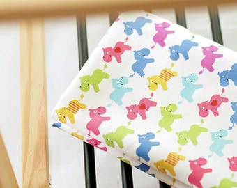 Cute Horses and Hearts Oxford Cotton - Blue - By the Yard 38870