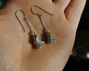 Hand Cast Pewter Run The Jewels Fist And Gun Hand Earrings